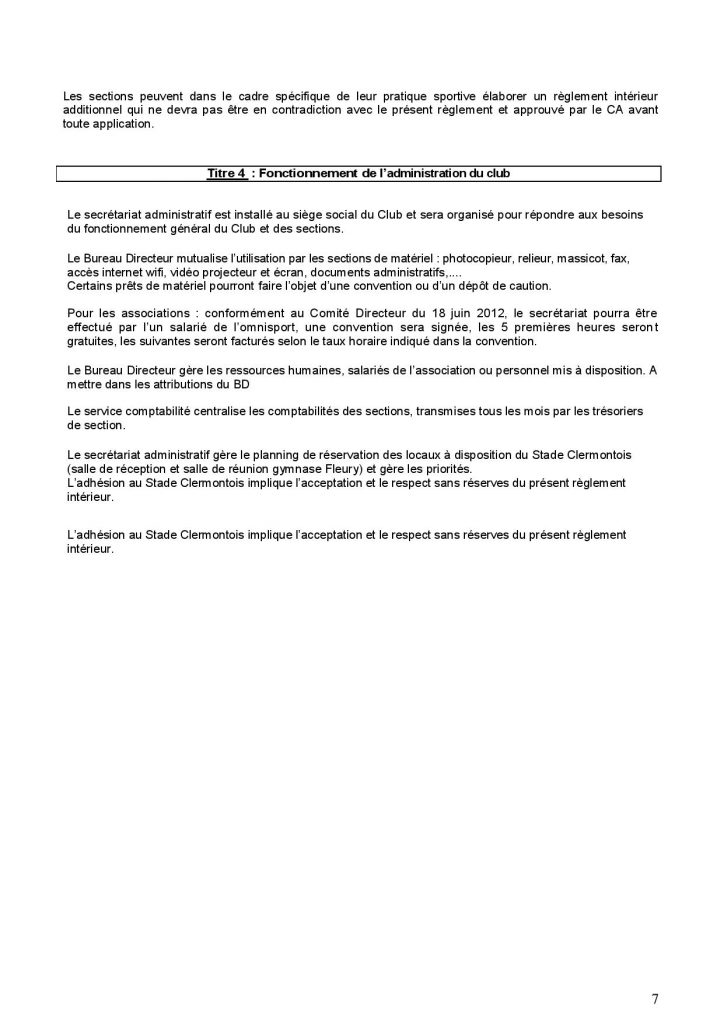 Règlement Intérieur du Stade Clermontois