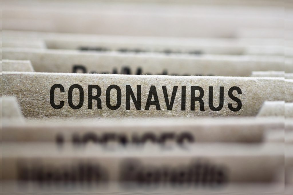 Coronavirus written on file folder label